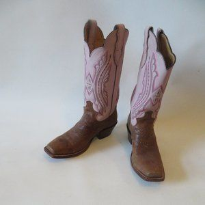 JUSTIN BROWN/PINK LEATHER COWBOY BOOTS SZ 7.5*